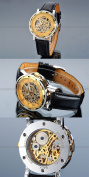 AMPM24 Hot Mechanical Analogue Skeleton Golden Dial Mens Sport Leather Wrist Watch Gift