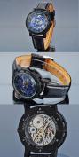 AMPM24 Fashion Mechanical Analogue Skeleton Blue Dial Mens Sport Leather Wrist Watch