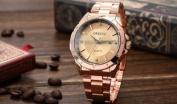 Orkina Mens Luxury Rose Gold Stainless Steel Date Sport Quartz Wrist Watch Gift