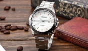 Orkina Mens Silver Stainless Steel White Dial Date Sport Quartz Wrist Watch