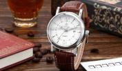 Orkina Mens White Dial Coffee Leather Sport Date Quartz Wrist Watch