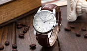 Orkina Mens Boyfriend White Dial Date Sport Quartz Coffee Leather Wrist Watch