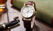 Orkina Mens White Dial Coffee Leather Date Sport Quartz Wrist Watch Gift