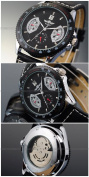 AMPM24 New Mens Leather Band Hand Winding Mechanical Mens Sport Military Watch Black