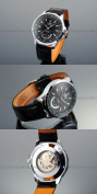 AMPM24 Mens Leather Self-Winding Mechanical Movement Mens Sport Watch Black Dial