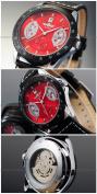 AMPM24 New Mens Red Black Leather Hand Winding Mechanical Men'S Sport Wrist Watch