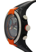 Ohsen Orange Surface Black Rubber Strap Round Dial Analogue Watches