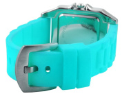 Trax Women's TR5132-WTQ Posh Square Turquoise Rubber White Dial Watch