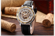 KS Skeleton Automatic Mechanical White Dial Black Leather Band Sport Watch