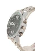 KONTAS Black Dial Men's Silver Tone Band Sports Watches