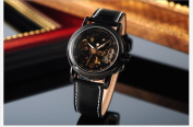 KS Men Luxury Skeleton Automatic Mechanical Black Leather Analogue Sport Watch