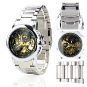 Orkina Mens Black Skeleton Dial Quartz Automatic Stainless Steel Strap Wrist Watch MG015SB
