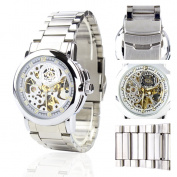 Orkina Mens White Skeleton Dial Quartz Automatic Stainless Steel Strap Wrist Watch MG015SS