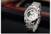 KS 24 Hours Analogue White Automatic Mechanical Date & Day Men Steel Watch New