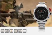 SHARK Mens LED Digital Date Day Black Dial Alarm Stainless Steel Sport Quartz Wrist Watch