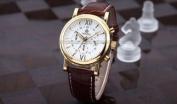 Orkina Mens White Dial 6 Hands Golden Case Sport Quartz Wrist Watch Gift