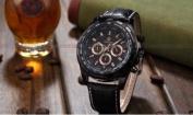 Orkina Mens Black Dial 24Hrs Stopwatch Sport Leather Quartz Wrist Watch Gift
