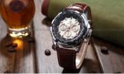 Orkina Mens White Dial 24Hrs Stopwatch Sport Coffee Leather Quartz Wrist Watch