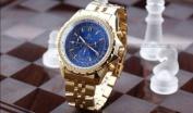Orkina Mens Blue Dial 6 Hands Golden Strap Sport Quartz Wrist Watch Gift