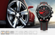 Hot SHARK Fashion 6 Hands Black Leather Steel Case Army Sport Quartz Wrist Watch