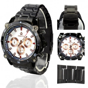 Orkina Black Case White 6 Hands Dial Stainless Steel Strap Wrist Watch PO015-SBW