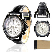 Orkina Black Case White Chronograph Dial Leather Strap Wrist Watch PO004LW