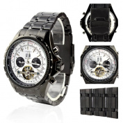 Orkina Black Case White Chronograph Skeleton Dial Stainless Steel Wrist Watch KC082SBW