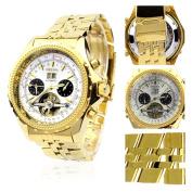 Orkina Gold Colour Case White Chronograph Skeleton Dial Stainless Steel Wrist Watch KC082SGW