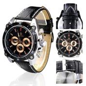 Orkina Silver Case Black Chronograph Dial Leather Strap Wrist Watch PO014-LSB