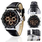 Orkina Silver Case Black Chronograph Dial Leather Strap Wrist Watch PO015-LSB