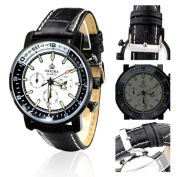 Orkina Silver Case White Chronograph Dial Tachymeter Stainless Steel Band Wrist Watch PO023-LW