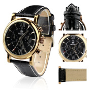 Orkina Stainless Steel Case Black Chronograph Dial Leather Band Luxury Wrist Watch PO013-LBB