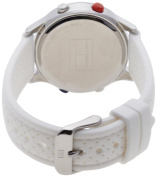 Tommy Hilfiger Women's 1781023 Digital Stainless Steel and White Silicon Bezel Strap Watch