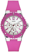 Guess Women's U10657L2 Pink Silicone Quartz Watch with White Dial