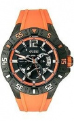 Guess Watch Men's Orange Silicone Strap U0034G8
