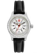 Women's Sportedge Black Leather White Dial