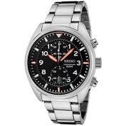 Stainless Steel Chronograph Quartz Link Bracelet Black Dial
