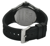 TKO ORLOGI Women's TK578-BK Genuine Ceramic Black Rubber Strap Watch