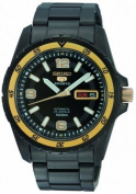 Men's Black Anodized Stainless Steel Seiko 5 Sports Automatic Black Dial Yellow Accent