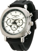 Jorg Grey 3500 Mens Chronograph w/ Date - Silver-Tone Layered Dial - Rubber