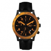 Jorg Grey 1900 Series Chronograph - Orange Accents - Black Case & Strap