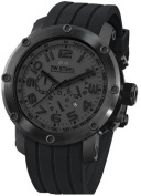 Stainless Steel Case Quartz Chronograph Black Dial Date Display Black Rubber Strap
