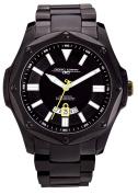 Jorg Grey 9100 Series Mens Sport Watch - Black Steel - Yellow Accents - Date