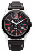 Jorg Grey Mens 9400 Sport Chrono - Red Accents - Black Dial - Leather Strap