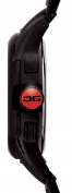Jorg Grey Mens 9400 Sport Chronograph - Black Steel Bracelet - Red Accents