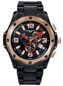 Jorg Grey Mens 9100 Chronograph - Black & Rose Gold Steel - Bracelet