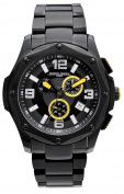 Jorg Grey Mens 9100 Chronograph - Black Steel - Yellow Accents - Date - Bracelet