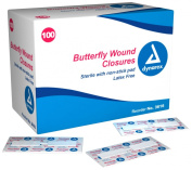 Dynarex Adhesive Bandage, Butterfly Fab, Large, 1.3cm X 7cm Sterile, 100 Count