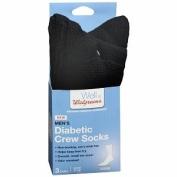 Walgreens Diabetic Crew Socks for Men, Black, Sizes 7-12, 1 pr