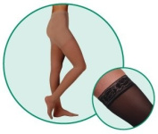 Juzo Hostess Compression Thigh High With Silicone Dot Band Short Closed Toe 30-40mmHg, IV, Black